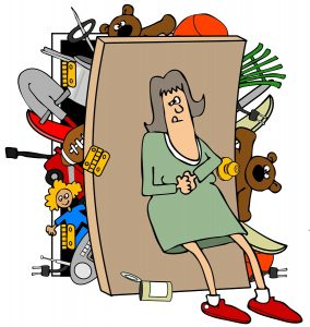Woman with a full closet